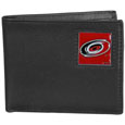 Carolina Hurricanes Leather Bi-fold Wallet - Officially licensed Carolina Hurricanes fine grain leather bi-fold wallet features numerous card slots, large billfold pocket and flip up window ID slot. This quality Carolina Hurricanes Bi-fold Wallet has an enameled Carolina Hurricanes emblem on the front of the wallet. The Carolina Hurricanes wallet is packaged in a gift box.