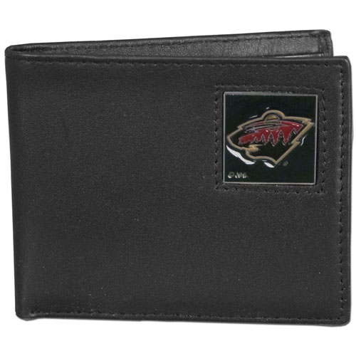Minnesota Wild Leather Bi-fold Wallet - Officially licensed NHL Minnesota Wild fine grain leather bi-fold wallet features numerous card slots, large billfold pocket and flip up window ID slot. This quality Minnesota Wild wallet has an enameled Minnesota Wild emblem on the front of the wallet. Thank you for visiting CrazedOutSports