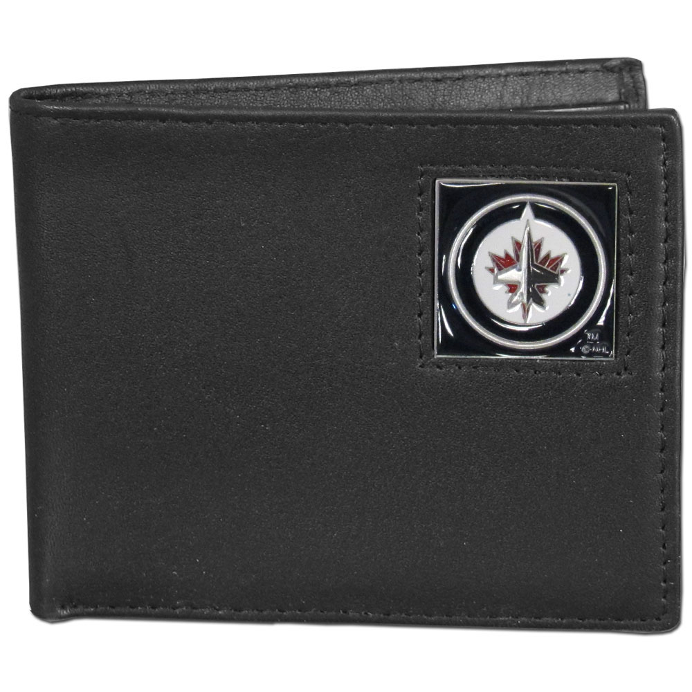 Winnipeg Jets™ Leather Bi-fold Wallet - Our officially licensed fine grain leather bi-fold wallet features numerous card slots, large billfold pocket and flip up window ID slot. This quality wallet has an enameled Winnipeg Jets™ emblem on the front of the wallet.