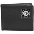 Winnipeg Jets  Leather Bi-fold Wallet - Officially licensed NHL Winnipeg Jets fine grain leather bi-fold wallet features numerous card slots, large billfold pocket and flip up window ID slot. This quality Winnipeg Jets wallet has an enameled Winnipeg Jets emblem on the front of the wallet. The Winnipeg Jets wallet is packaged in an NHL  gift box.
