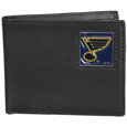 St. Louis Blues Leather Bi-fold Wallet - Officially licensed St. Louis Blues fine grain leather bi-fold wallet features numerous card slots, large billfold pocket and flip up window ID slot. This quality St. Louis Blues wallet has an enameled St. Louis Blues emblem on the front of the wallet. The St. Louis Blues wallet is packaged in a gift box.