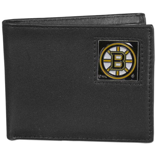 Boston Bruins Leather Bi-fold Wallet - Officially licensed NHL Boston Bruins fine grain leather bi-fold wallet features numerous card slots, large billfold pocket and flip up window ID slot. This quality Boston Bruins wallet has an enameled Boston Bruins emblem on the front of the wallet. Thank you for visiting CrazedOutSports