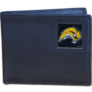 Buffalo Sabres NHL Bifold Wallet   - Officially licensed Buffalo Sabres NHL Bi-fold wallet is made of high quality fine grain leather and includes credit card slots and photo sleeves. Buffalo Sabres logo is sculpted in pewter and enameled with fine detail on the front panel. Thank you for visiting CrazedOutSports