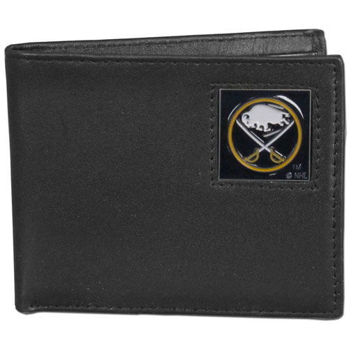 NHL Bifold Wallet in Box - Buffalo Sabres - Buffalo Sabres NHL Bi-fold wallet is made of high quality fine grain leather and includes credit card slots and photo sleeves. Buffalo Sabres logo is sculpted in pewter and enameled with fine detail on the front panel. Packaged in a window box.