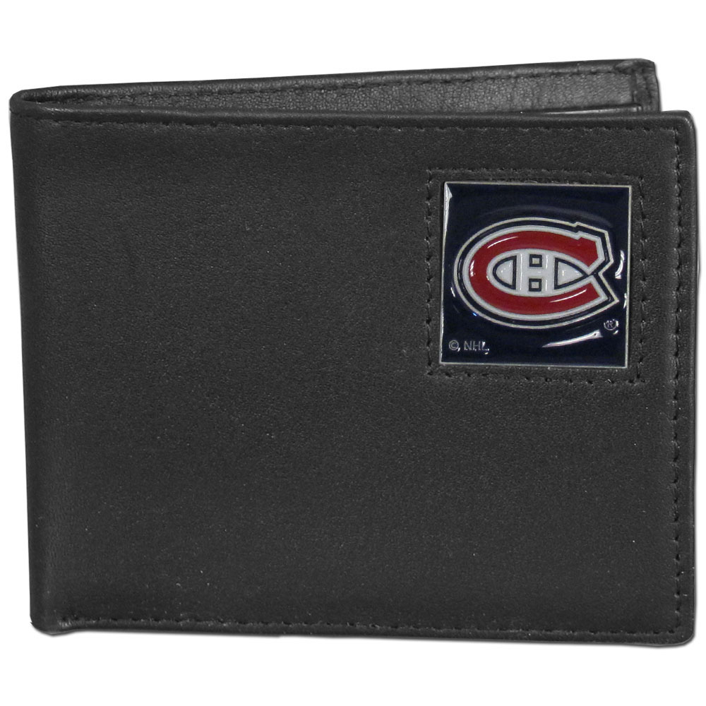 Montreal Canadiens® Leather Bi-fold Wallet - Our officially licensed fine grain leather bi-fold wallet features numerous card slots, large billfold pocket and flip up window ID slot. This quality wallet has an enameled Montreal Canadiens® emblem on the front of the wallet.