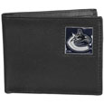 Vancouver Canucks Leather Bi-fold Wallet - Officially licensed Vancouver Canucks fine grain leather bi-fold wallet features numerous card slots, large billfold pocket and flip up window ID slot. This quality Vancouver Canucks wallet has an enameled Vancouver Canucks emblem on the front of the wallet. The Vancouver Canucks wallet is packaged in a gift box.