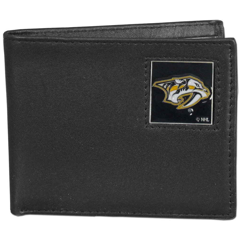 Nashville Predators® Leather Bi-fold Wallet - Our officially licensed fine grain leather bi-fold wallet features numerous card slots, large billfold pocket and flip up window ID slot. This quality wallet has an enameled Nashville Predators® emblem on the front of the wallet.