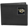 Nashville Predators Leather Bi-fold Wallet - Officially licensed NHL Nashville Predators fine grain leather bi-fold wallet features numerous card slots, large billfold pocket and flip up window ID slot. This quality Nashville Predators wallet has an enameled Nashville Predators emblem on the front of the wallet. The Nashville Predators wallet is packaged in a gift box.