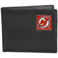 New Jersey Devils Leather Bi-fold Wallet - Officially licensed New Jersey Devils fine grain leather bi-fold wallet features numerous card slots, large billfold pocket and flip up window ID slot. This quality New Jersey Devils wallet has an enameled New Jersey Devils emblem on the front of the wallet. The New Jersey Devils wallet is packaged in a gift box.