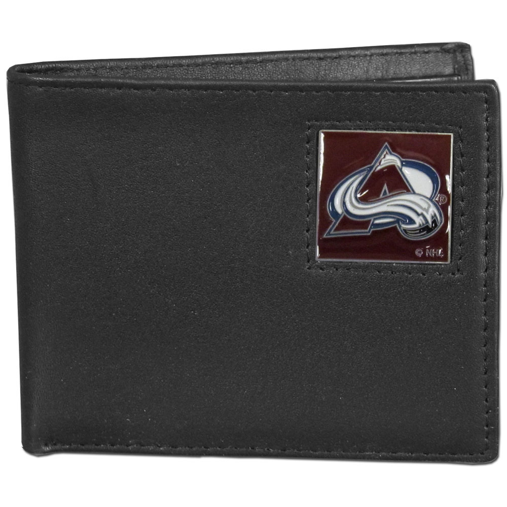 Colorado Avalanche® Leather Bi-fold Wallet - Our officially licensed fine grain leather bi-fold wallet features numerous card slots, large billfold pocket and flip up window ID slot. This quality wallet has an enameled Colorado Avalanche® emblem on the front of the wallet.