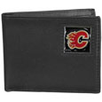 Calgary Flames Leather Bi-fold Wallet - Officially licensed Calgary Flames fine grain leather bi-fold wallet features numerous card slots, large billfold pocket and flip up window ID slot. This quality Calgary Flames wallet has an enameled Calgary Flames emblem on the front of the wallet. The Calgary Flames wallet is packaged in a gift box. Thank you for visiting CrazedOutSports