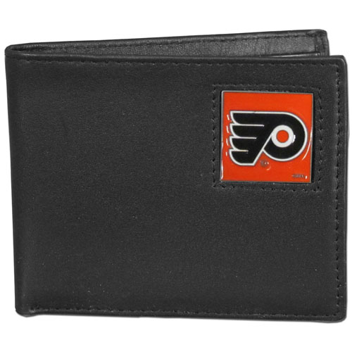 NHL Bifold Wallet in Box - Philadelphia Flyers - Philadelphia Flyers NHL Bi-fold wallet is made of high quality fine grain leather and includes credit card slots and photo sleeves. Philadelphia Flyers logo is sculpted and enameled with fine detail on the front panel. Packaged in a window box.