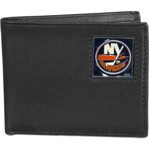 NHL Bifold Wallet - New York Islanders - New York Islanders NHL Bi-fold wallet is made of high quality fine grain leather and includes credit card slots and photo sleeves. New York Islanders logo is sculpted and enameled with fine detail on the front panel.