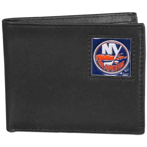 NHL Bifold Wallet in Box - New York Islanders - New York Islanders NHL Bi-fold wallet is made of high quality fine grain leather and includes credit card slots and photo sleeves. New York Islanders logo is sculpted and enameled with fine detail on the front panel. Packaged in a window box.