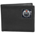 Edmonton Oilers Leather Bi-fold Wallet - Officially licensed Edmonton Oilers fine grain leather bi-fold wallet features numerous card slots, large billfold pocket and flip up window ID slot. This quality Edmonton Oilers wallet has an enameled Edmonton Oilers emblem on the front of the wallet. The wallet is packaged in a gift box.