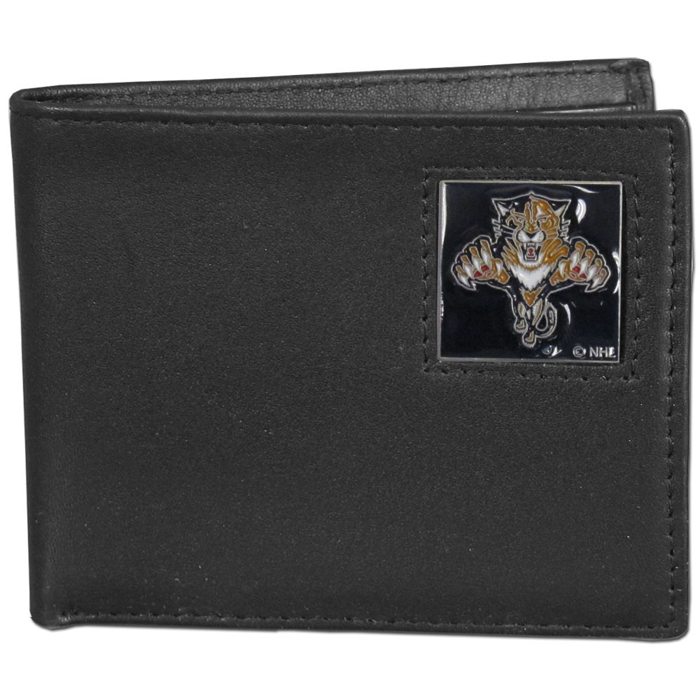 Florida Panthers® Leather Bi-fold Wallet - Our officially licensed fine grain leather bi-fold wallet features numerous card slots, large billfold pocket and flip up window ID slot. This quality wallet has an enameled Florida Panthers® emblem on the front of the wallet.