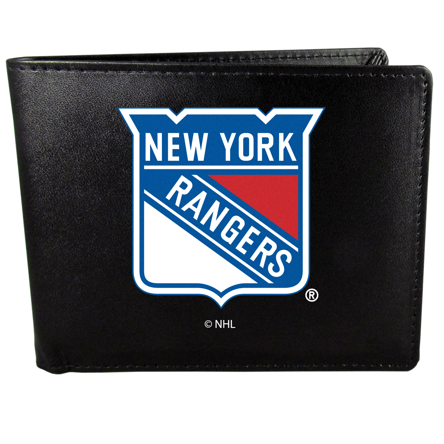 New York Rangers Bi-fold Wallet Large Logo - Sports fans do not have to sacrifice style with this classic bi-fold wallet that sports the New York Rangers?extra large logo. This men's fashion accessory has a leather grain look and expert craftmanship for a quality wallet at a great price. The wallet features inner credit card slots, windowed ID slot and a large billfold pocket. The front of the wallet features a printed team logo.
