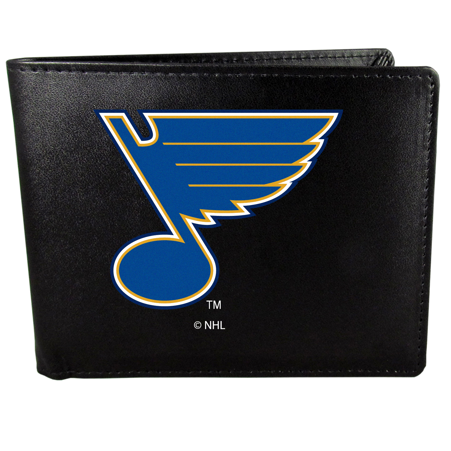 St. Louis Blues Bi-fold Wallet Large Logo - Sports fans do not have to sacrifice style with this classic bi-fold wallet that sports the St. Louis Blues?extra large logo. This men's fashion accessory has a leather grain look and expert craftmanship for a quality wallet at a great price. The wallet features inner credit card slots, windowed ID slot and a large billfold pocket. The front of the wallet features a printed team logo.