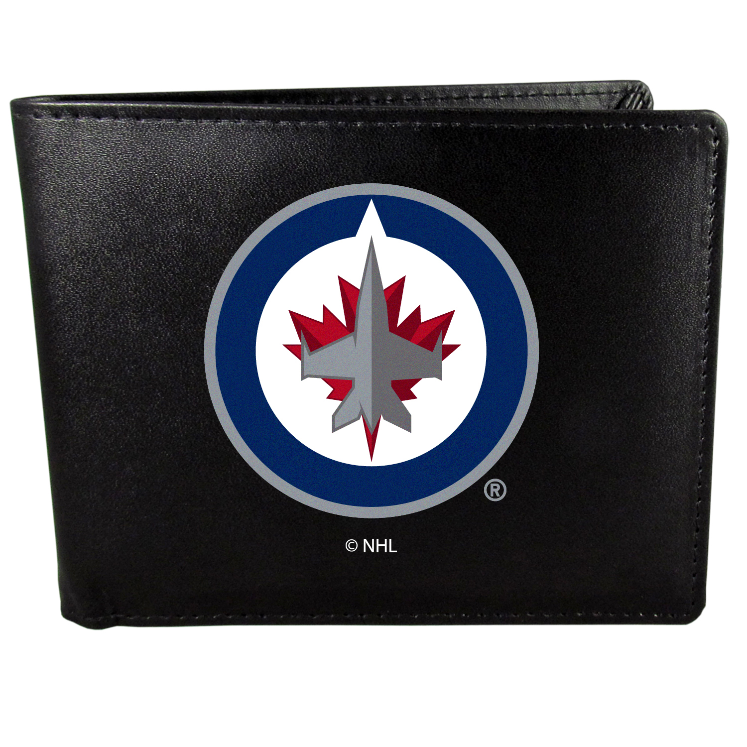 Winnipeg Jets? Bi-fold Wallet Large Logo - Sports fans do not have to sacrifice style with this classic bi-fold wallet that sports the Winnipeg Jets??extra large logo. This men's fashion accessory has a leather grain look and expert craftmanship for a quality wallet at a great price. The wallet features inner credit card slots, windowed ID slot and a large billfold pocket. The front of the wallet features a printed team logo.