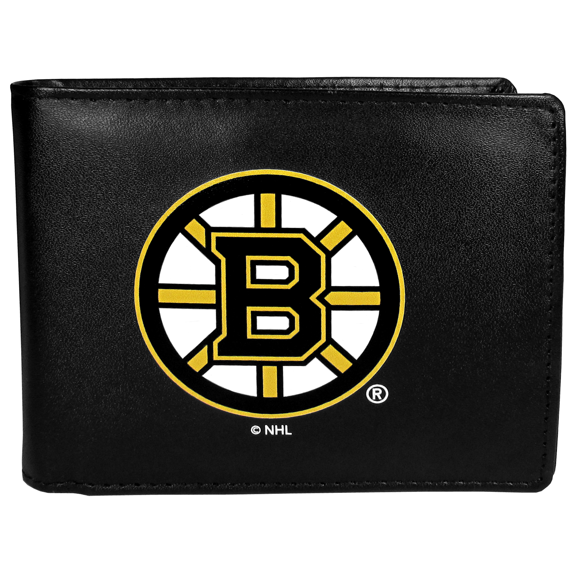Boston Bruins Bi-fold Wallet Large Logo - Sports fans do not have to sacrifice style with this classic bi-fold wallet that sports the Boston Bruins?extra large logo. This men's fashion accessory has a leather grain look and expert craftmanship for a quality wallet at a great price. The wallet features inner credit card slots, windowed ID slot and a large billfold pocket. The front of the wallet features a printed team logo.