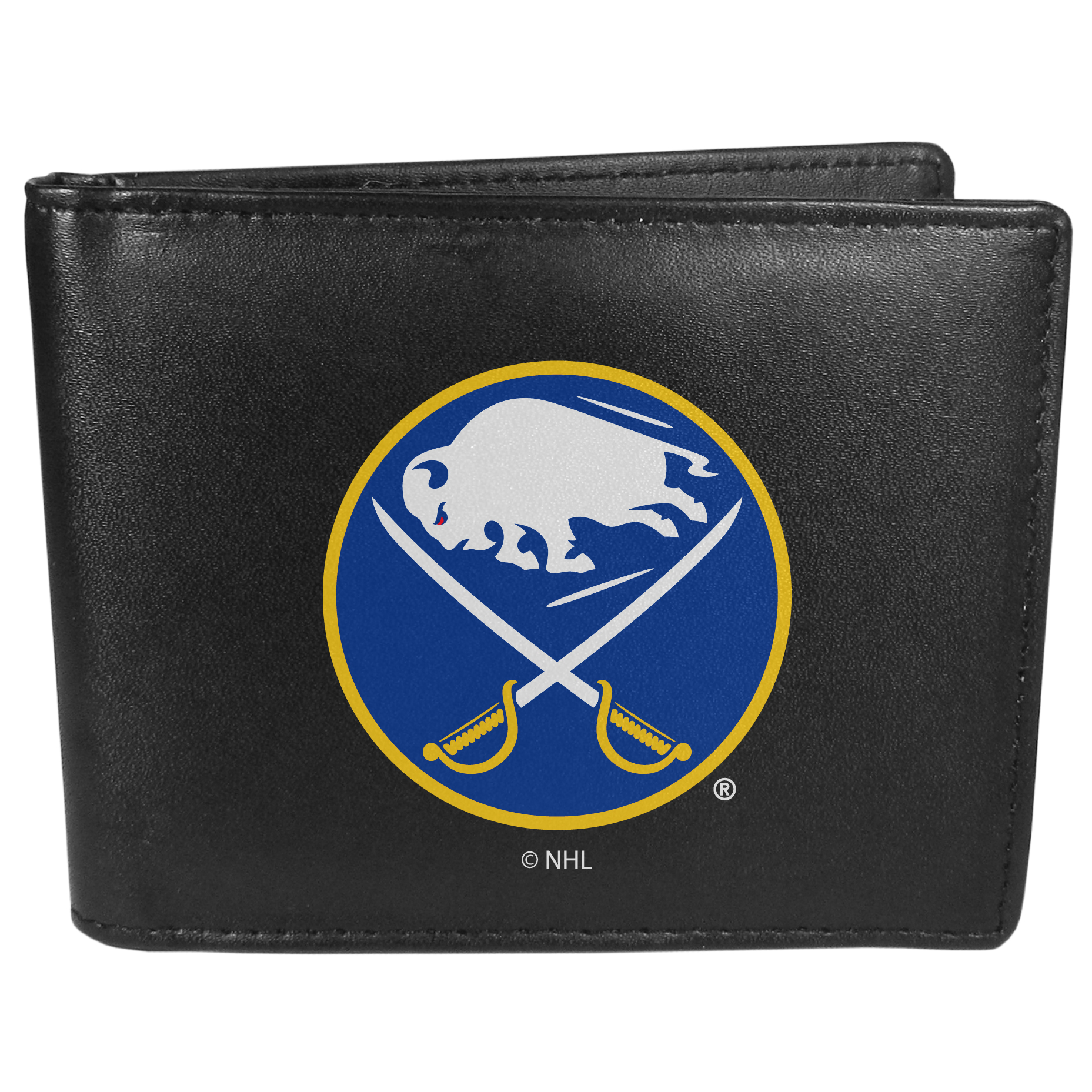 Buffalo Sabres Bi-fold Wallet Large Logo - Sports fans do not have to sacrifice style with this classic bi-fold wallet that sports the Buffalo Sabres?extra large logo. This men's fashion accessory has a leather grain look and expert craftmanship for a quality wallet at a great price. The wallet features inner credit card slots, windowed ID slot and a large billfold pocket. The front of the wallet features a printed team logo.