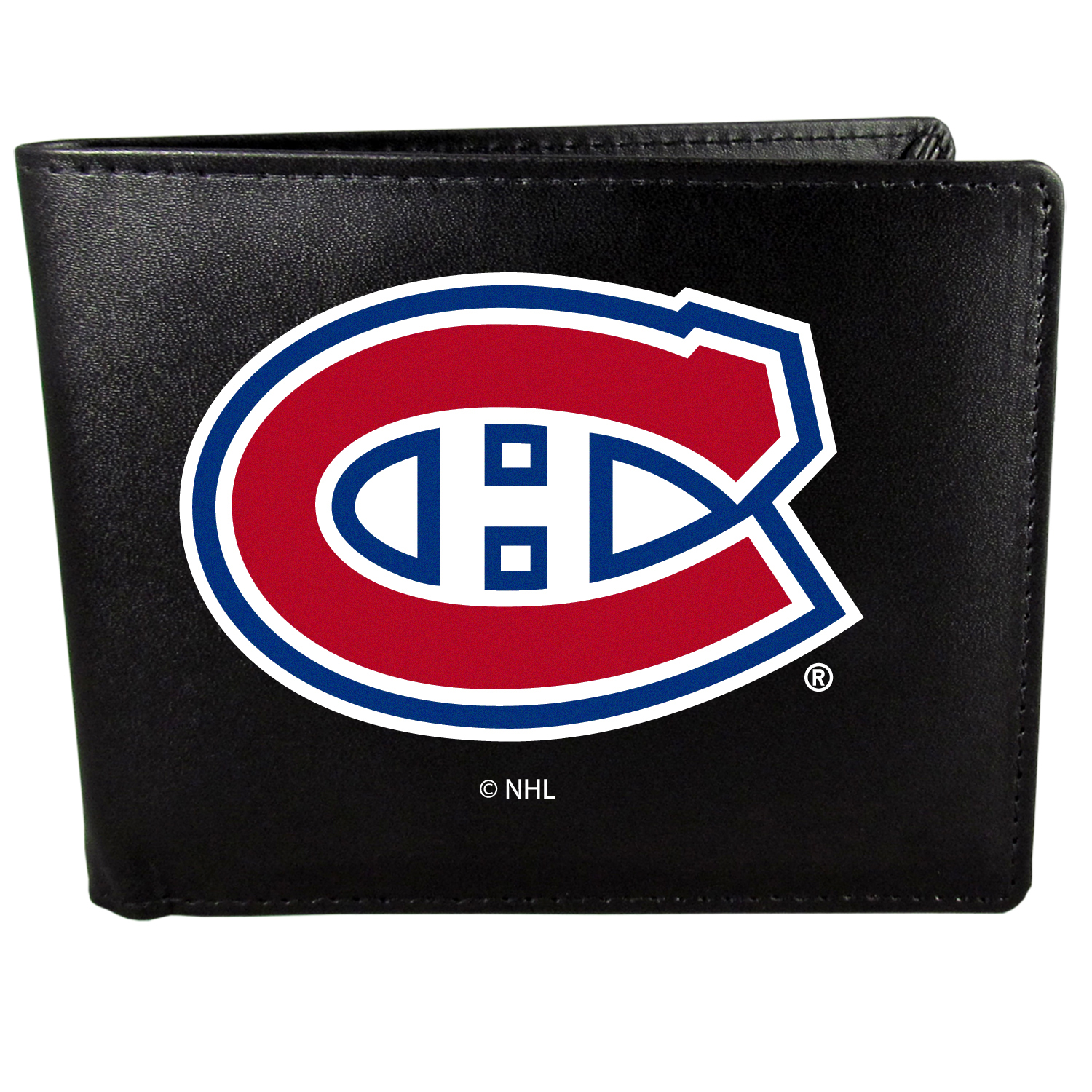 Montreal Canadiens Bi-fold Wallet Large Logo - Sports fans do not have to sacrifice style with this classic bi-fold wallet that sports the Montreal Canadiens?extra large logo. This men's fashion accessory has a leather grain look and expert craftmanship for a quality wallet at a great price. The wallet features inner credit card slots, windowed ID slot and a large billfold pocket. The front of the wallet features a printed team logo.
