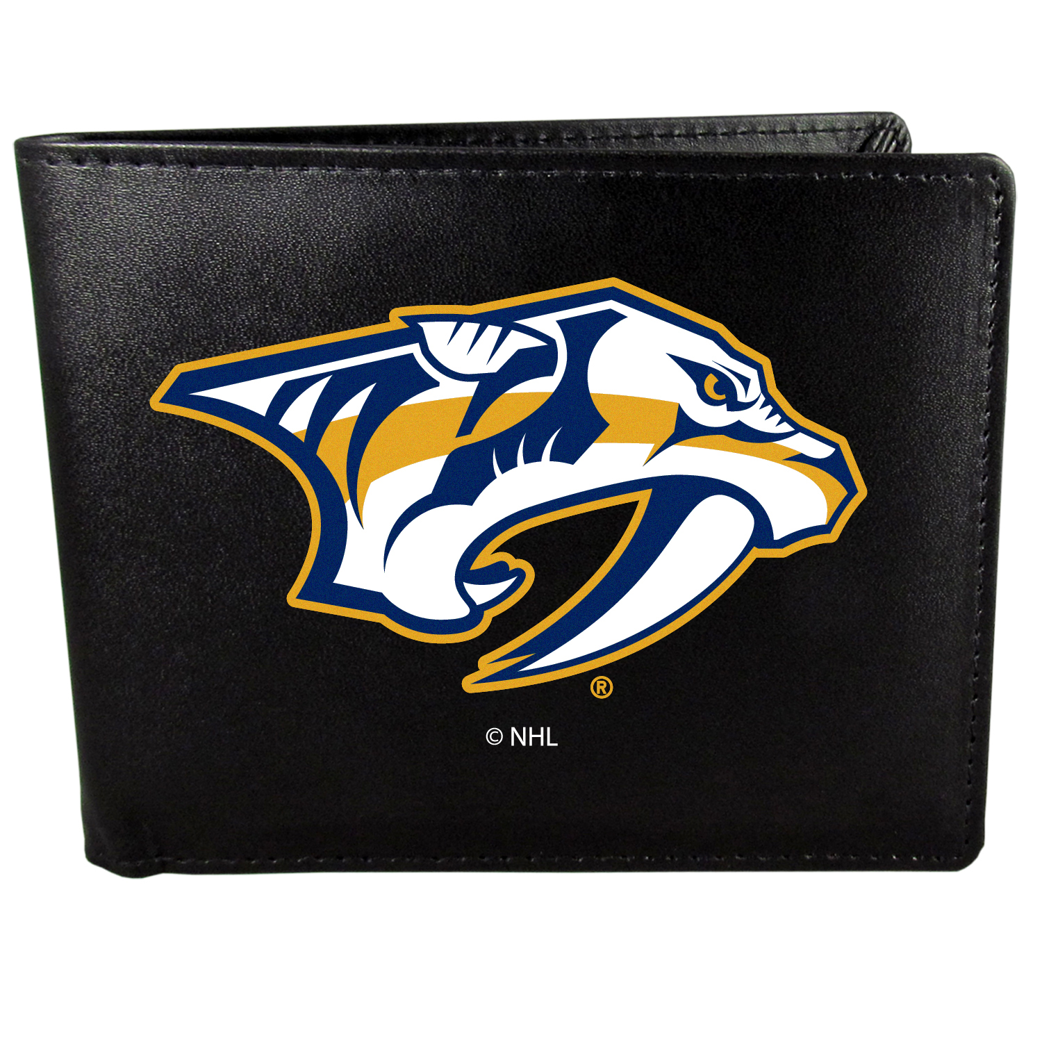 Nashville Predators Bi-fold Wallet Large Logo - Sports fans do not have to sacrifice style with this classic bi-fold wallet that sports the Nashville Predators?extra large logo. This men's fashion accessory has a leather grain look and expert craftmanship for a quality wallet at a great price. The wallet features inner credit card slots, windowed ID slot and a large billfold pocket. The front of the wallet features a printed team logo.