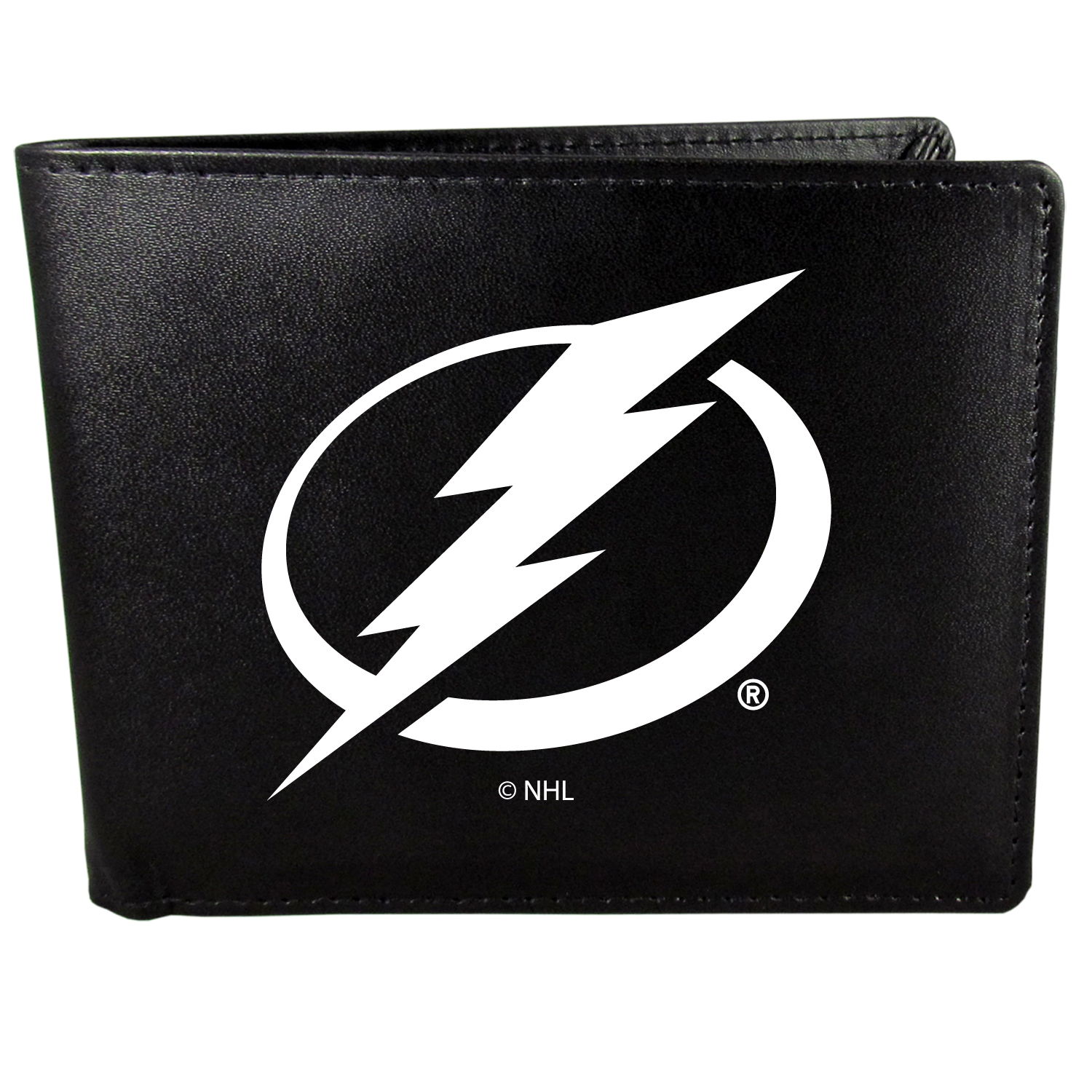 Tampa Bay Lightning Bi-fold Wallet Large Logo - Sports fans do not have to sacrifice style with this classic bi-fold wallet that sports the Tampa Bay Lightning?extra large logo. This men's fashion accessory has a leather grain look and expert craftmanship for a quality wallet at a great price. The wallet features inner credit card slots, windowed ID slot and a large billfold pocket. The front of the wallet features a printed team logo.