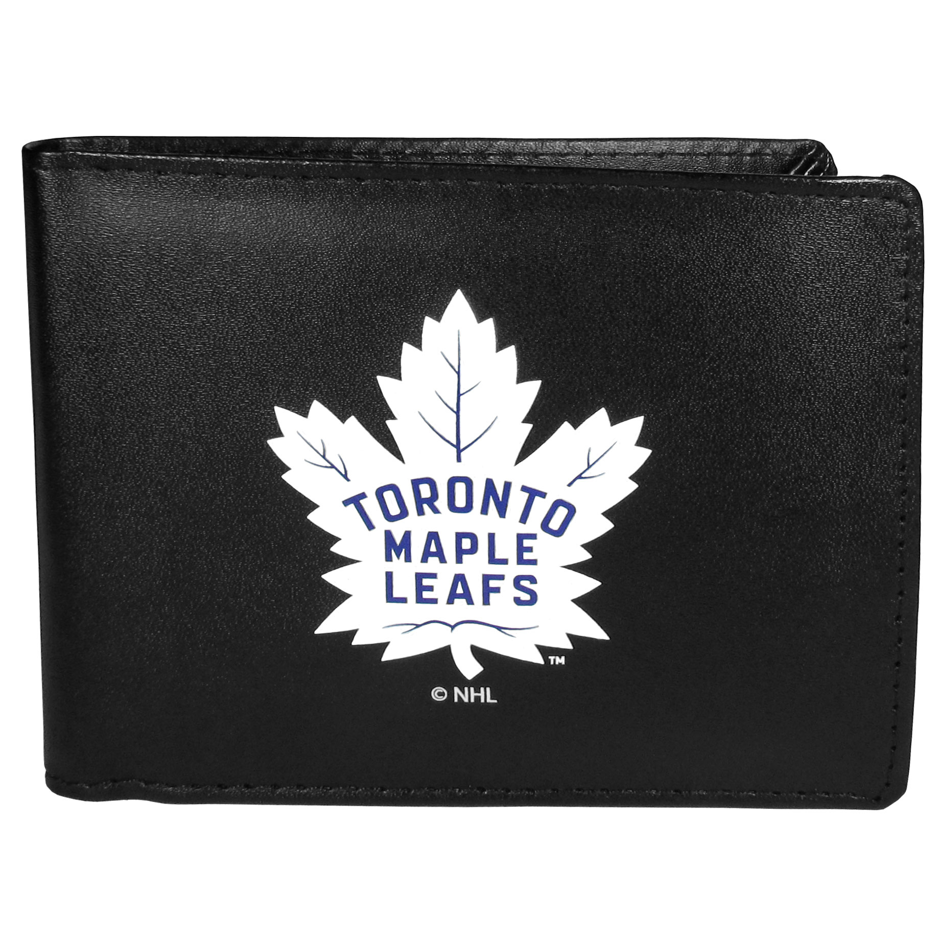Toronto Maple Leafs Bi-fold Wallet Large Logo - Sports fans do not have to sacrifice style with this classic bi-fold wallet that sports the Toronto Maple Leafs?extra large logo. This men's fashion accessory has a leather grain look and expert craftmanship for a quality wallet at a great price. The wallet features inner credit card slots, windowed ID slot and a large billfold pocket. The front of the wallet features a printed team logo.