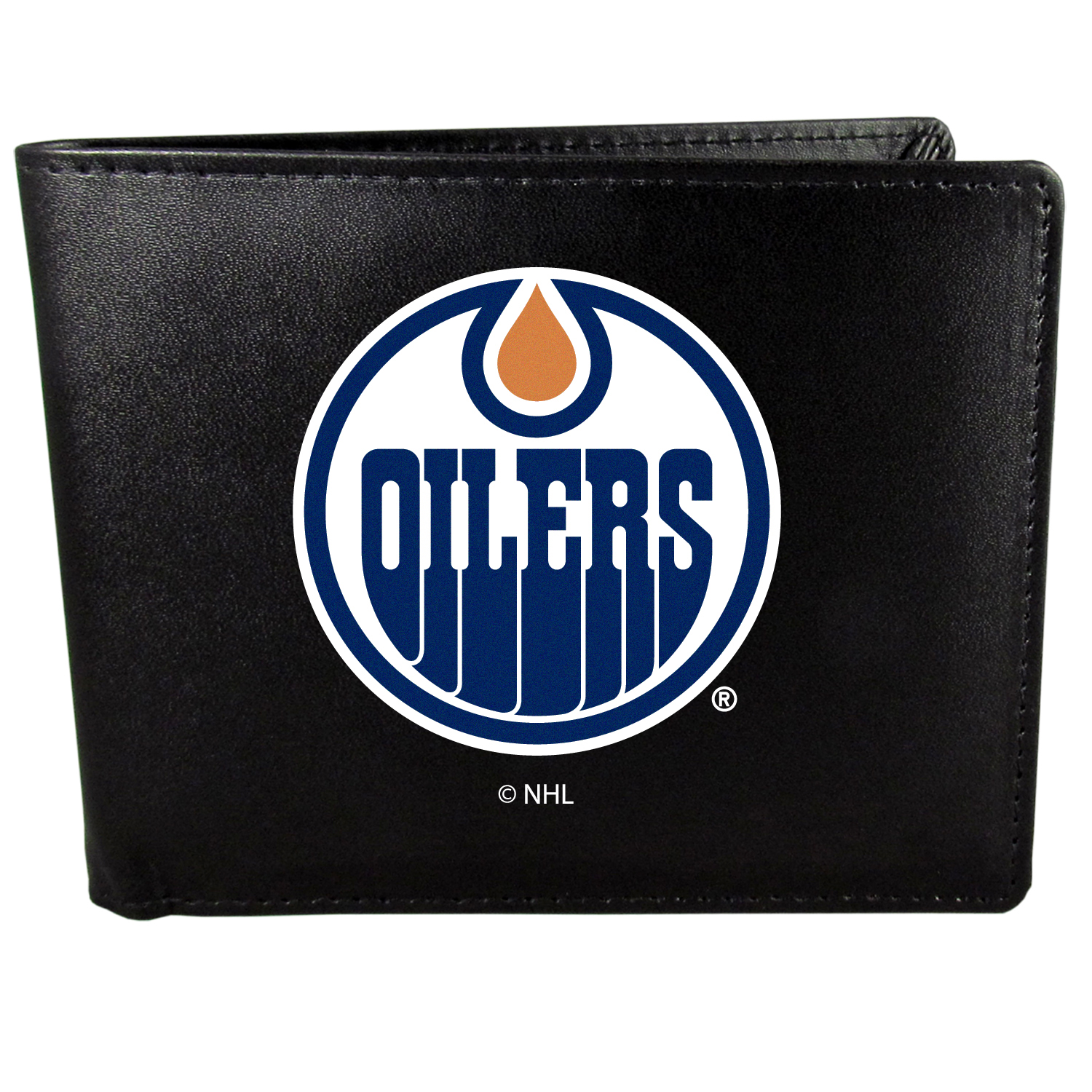 Edmonton Oilers Bi-fold Wallet Large Logo - Sports fans do not have to sacrifice style with this classic bi-fold wallet that sports the Edmonton Oilers?extra large logo. This men's fashion accessory has a leather grain look and expert craftmanship for a quality wallet at a great price. The wallet features inner credit card slots, windowed ID slot and a large billfold pocket. The front of the wallet features a printed team logo.