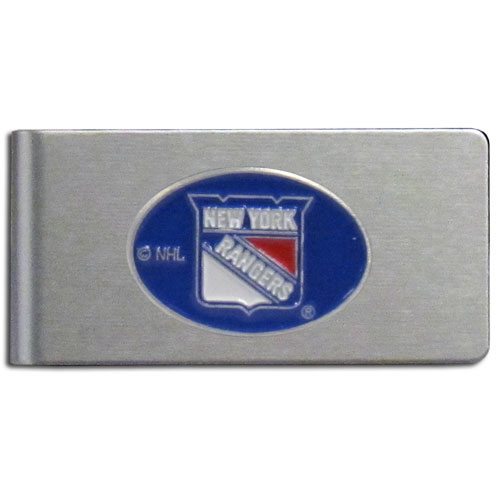 New York Rangers Brushed Money Clip - This quality New York Rangers Brushed Money Clip has a brushed metal finish and features a fully cast and hand enameled New York Rangers logo. Thank you for visiting CrazedOutSports !
