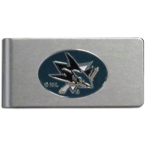 San Jose Sharks Brushed Money Clip - This quality NHL  San Jose Sharks Brushed Money Clip has a brushed metal finish and features a fully cast and hand enameled San Jose Sharks logo.