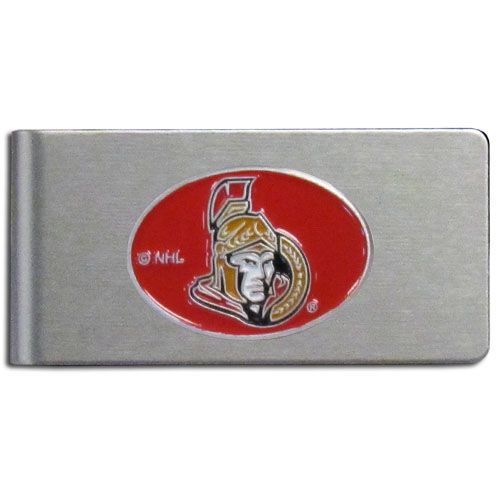 Ottawa Senators Brushed Money Clip - This quality NHL  Ottawa Senators Brushed Money Clip has a brushed metal finish and features a fully cast and hand enameled Ottawa Senators logo.