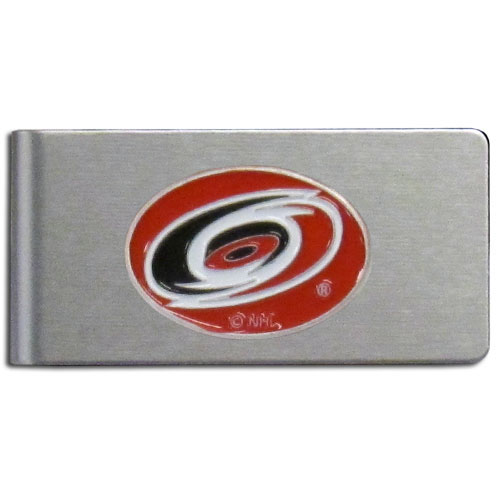 Carolina Hurricanes Brushed Money Clip - This quality NHL  Carolina Hurricanes Brushed Money Clip has a brushed metal finish and features a fully cast and hand enameled Carolina Hurricanes logo. Thank you for visiting CrazedOutSports
