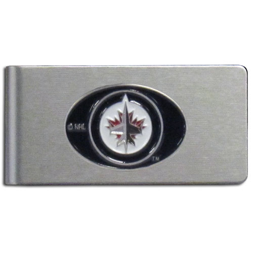 Winnipeg Jets Brushed Money Clip - This quality NHL  Winnipeg Jets Brushed Money Clip has a brushed metal finish and features a fully cast and hand enameled Winnipeg Jets logo.