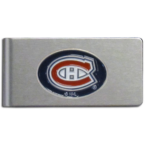 Montreal Canadiens Brushed Money Clip - This quality NHL  Montreal Canadiens Brushed Money Clip has a brushed metal finish and features a fully cast and hand enameled Montreal Canadiens logo.