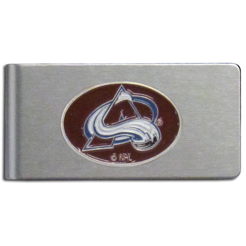 Colorado Avalanche Brushed Money Clip - This quality NHL Colorado Avalanche Brushed Money Clip has a brushed metal finish and features a fully cast and hand enameled Colorado Avalanche logo.