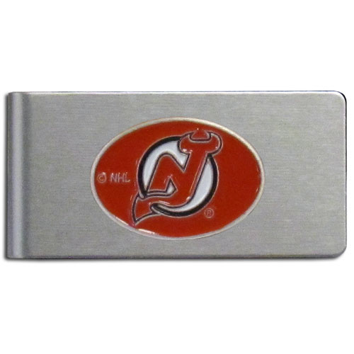 New Jersey Devils Brushed Money Clip - This quality New Jersey Devils Brushed Money Clip has a brushed metal finish and features a fully cast and hand enameled New Jersey Devils logo.  !