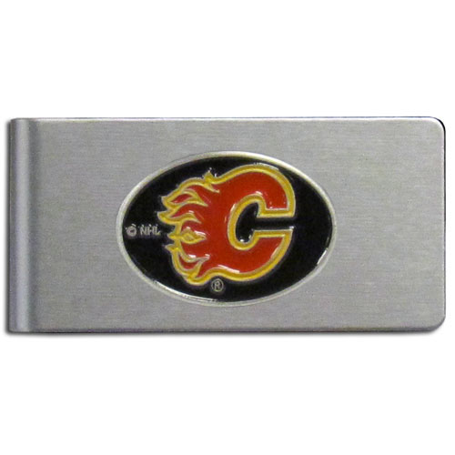 Calgary Flames Brushed Money Clip - This quality Calgary Flames Brushed Money Clip has a brushed metal finish and features a fully cast and hand enameled Calgary Flames logo. Thank you for visiting CrazedOutSports !