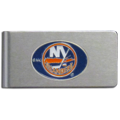 New York Islanders Brushed Money Clip - This quality NHL  New York Islanders Brushed Money Clip has a brushed metal finish and features a fully cast and hand enameled New York Islanders logo.
