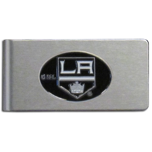 Los Angeles Kings Brushed Money Clip - This quality Los Angeles Kings Brushed Money Clip has a brushed metal finish and features a fully cast and hand enameled Los Angeles Kings logo. Thank you for visiting CrazedOutSports !