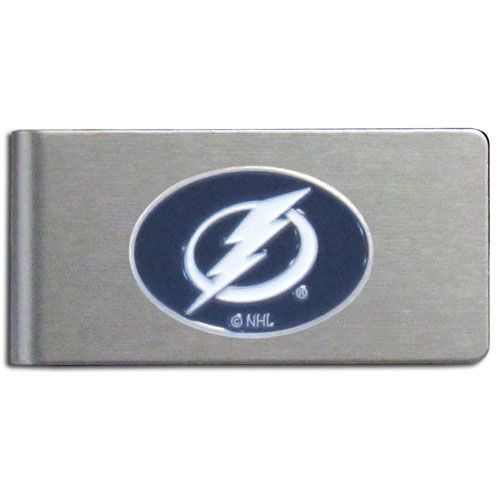 Tampa Bay Lightning Brushed Money Clip - This quality NHL Tampa Bay Lightning Brushed Money Clip has a brushed metal finish and features a fully cast and hand enameled Tampa Bay Lightning logo. Thank you for visiting CrazedOutSports