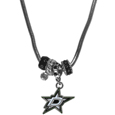 Dallas Stars Euro Bead Necklace - We have combined the wildly popular Euro style beads with your favorite team to create our Dallas Stars euro bead necklace. The 18 inch snake chain features 4 Euro beads with enameled Dallas Stars colors and rhinestone accents with a high polish, nickel free charm and rhinestone charm. Perfect way to show off your Dallas Stars pride.
