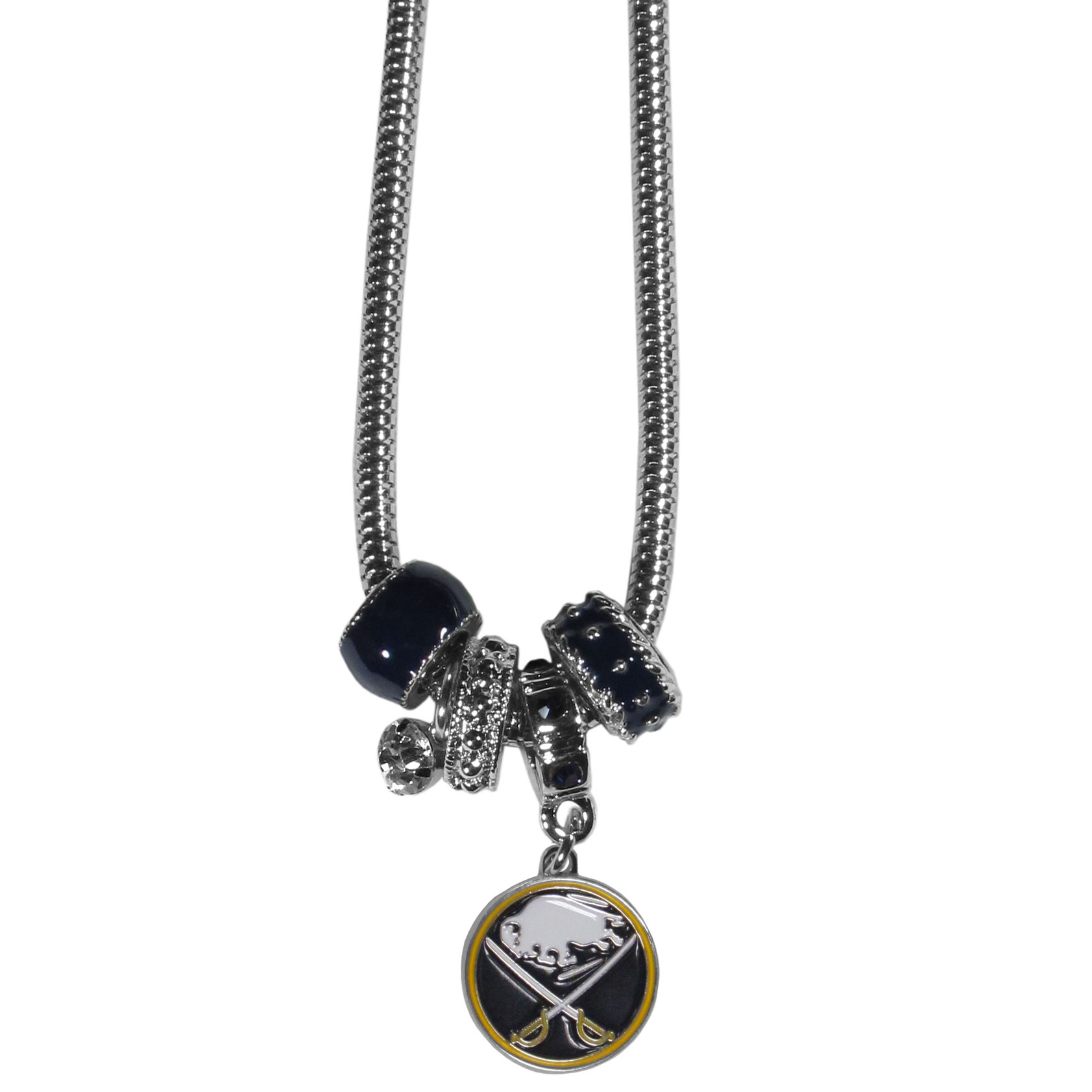 Buffalo Sabres® Euro Bead Necklace - We have combined the wildly popular Euro style beads with your favorite team to create our Buffalo Sabres® bead necklace. The 18 inch snake chain features 4 Euro beads with enameled team colors and rhinestone accents with a high polish, nickel free charm and rhinestone charm. Perfect way to show off your team pride.