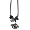 Nashville Predators Euro Bead Necklace - We have combined the wildly popular Euro style beads with your favorite team to create our Nashville Predators euro bead necklace. The 18 inch snake chain features 4 Euro beads with enameled Nashville Predators colors and rhinestone accents with a high polish, nickel free charm and rhinestone charm. Perfect way to show off your Nashville Predators pride.