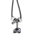 Colorado Avalanche Euro Bead Necklace - We have combined the wildly popular Euro style beads with your favorite team to create our Colorado Avalanche euro bead necklace. The 18 inch snake chain features 4 Euro beads with enameled Colorado Avalanche team colors and rhinestone accents with a high polish, nickel free charm and rhinestone charm. Perfect way to show off your team pride.
