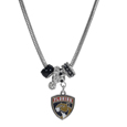 Florida Panthers Euro Bead Necklace - We have combined the wildly popular Euro style beads with your favorite team to create our Florida Panthers euro bead necklace. The 18 inch snake chain features 4 Euro beads with enameled Florida Panthers colors and rhinestone accents with a high polish, nickel free charm and rhinestone charm. Perfect way to show off your Florida Panthers pride.