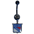 New York Rangers  Navel Ring - Let the world know you're a fan with our officially licensed New York Rangers  belly ring in vibrant team colors with a large, team colored crystal. The 14 gauge navel ring is 316L Surgical Stainless steel has a team dangle charm.
