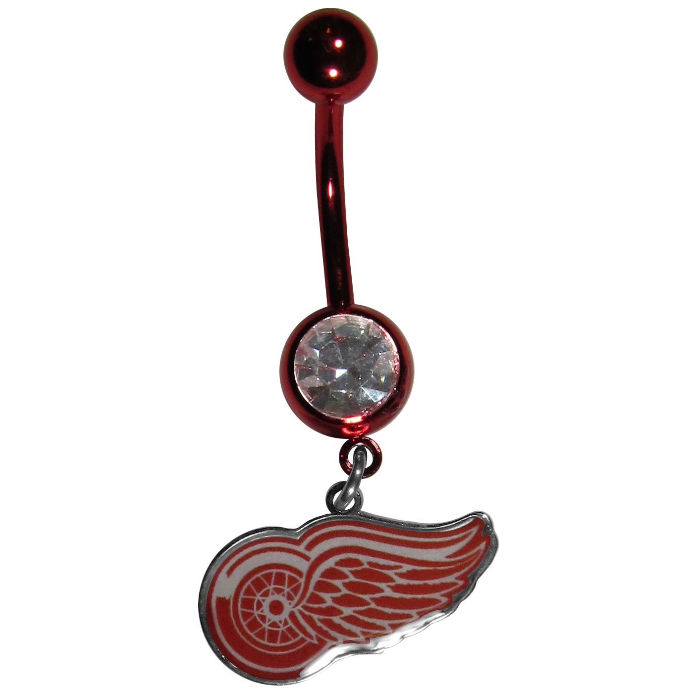 Detroit Red Wings® Navel Ring - Let the world know you're a fan with our officially licensed Detroit Red Wings® belly ring in vibrant team colors with a large, team colored crystal. The 14 gauge navel ring is 316L Surgical Stainless steel has a team dangle charm.