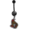Ottawa Senators  Navel Ring - Let the world know you're a fan with our officially licensed Ottawa Senators  belly ring in vibrant team colors with a large, team colored crystal. The 14 gauge navel ring is 316L Surgical Stainless steel has a team dangle charm.